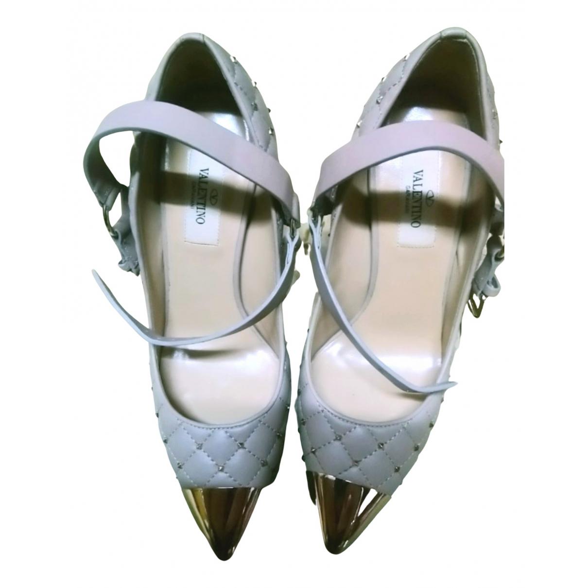 Valentino Garavani Rockstud Spike Pink Leather Heels for Women 36 EU