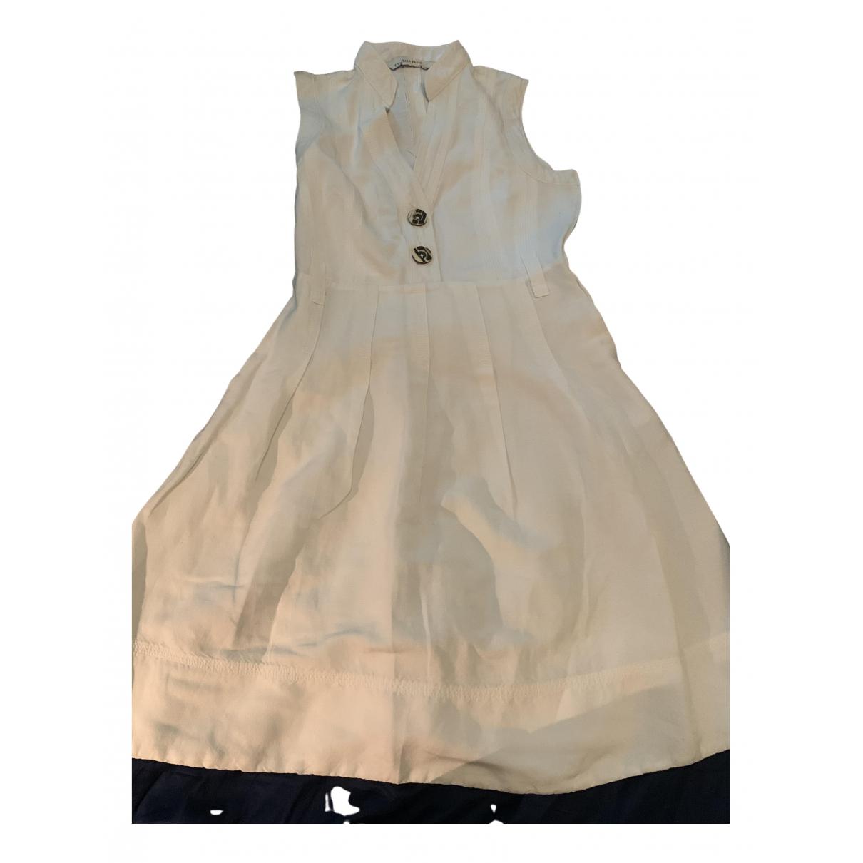 Zara - Robe   pour femme en lin - blanc
