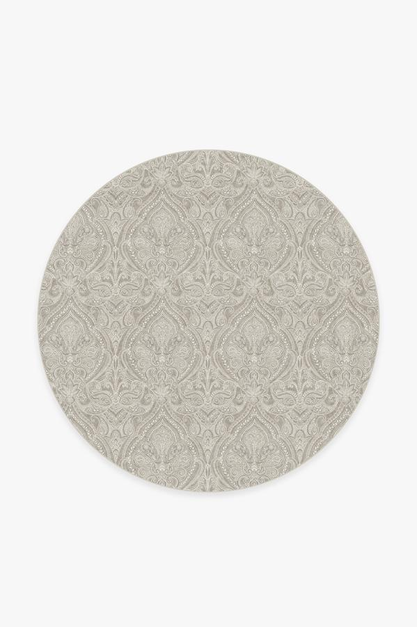Washable Rug Cover & Pad | Lacis Damask Stone Rug | Stain-Resistant | Ruggable | 6 Round