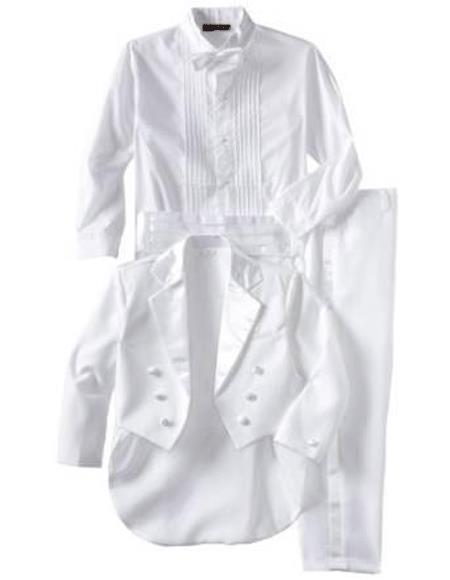 Boys Children Kids Tailcoat Tuxedo White