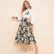 Bluse mit Taschen vorn & Rock mit Blumen Muster