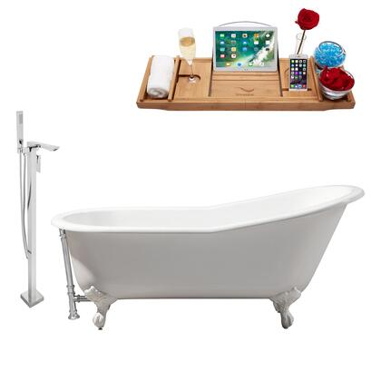 RH5221WH-CH-140 61 Oval Shaped Soaking Clawfoot Tub With 58 Gallons Capacity  Vintage Style  Enamel And Cast Iron Construction  And Floor Mounted