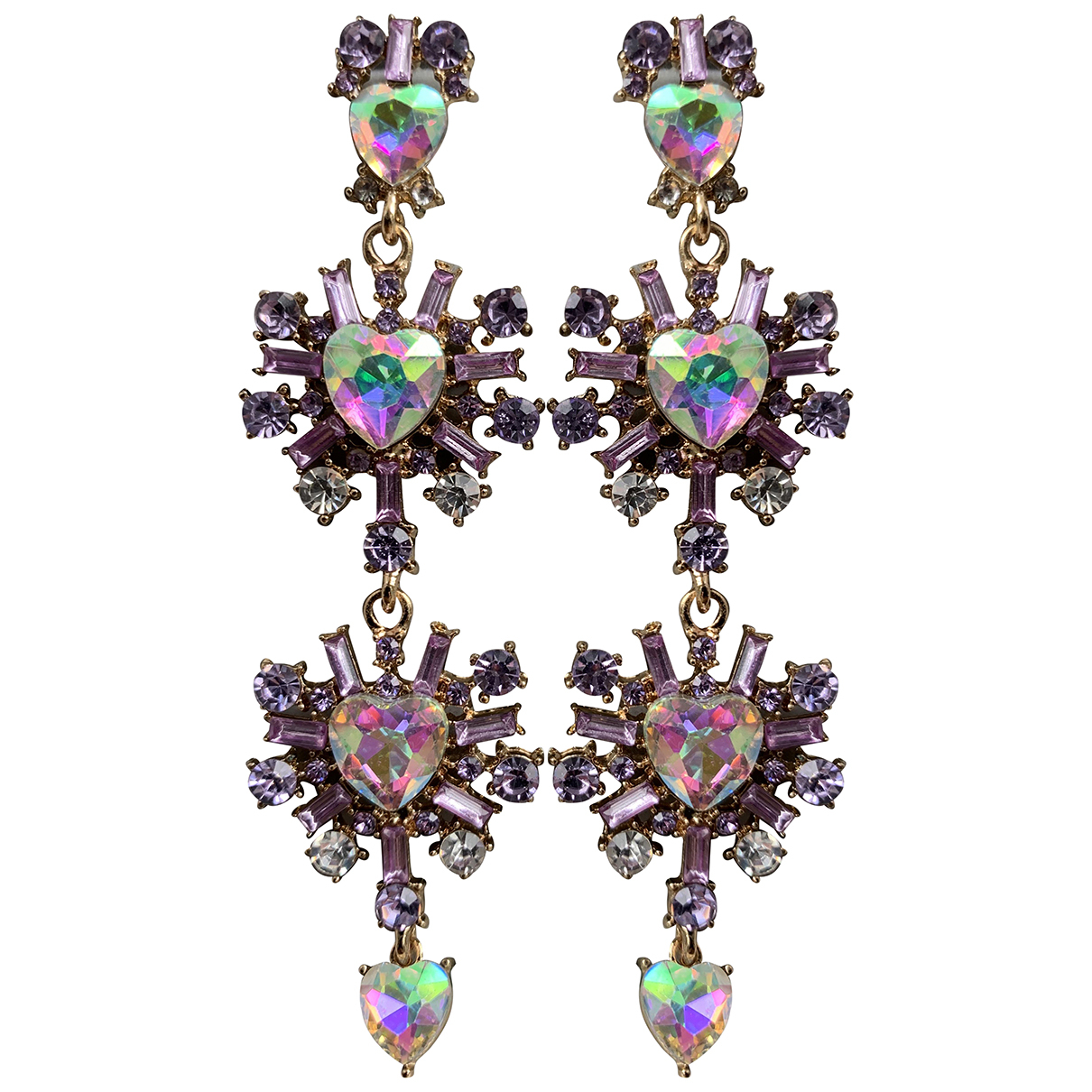 Non Signe / Unsigned Motifs Coeurs OhrRing in  Lila Metall
