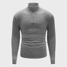 Men Cable Knit Zipper Stand Collar Sweater