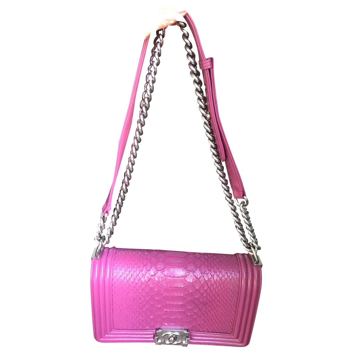 Chanel Boy Handtasche in  Rosa Python