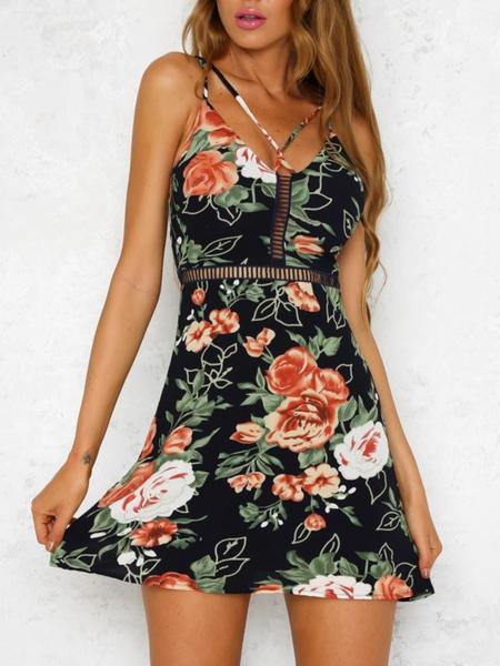 Yoins Backless Random Floral Print Hollow Design V-neck Sleeveless Dress