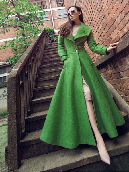 Milanoo Women Woolen Coat Turndown Collar Pockets Green Long Winter Coat
