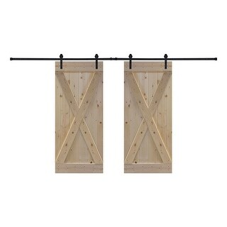 Assembled Unfinished Interior Sliding Double Barn Door with Installation Hardware Kit (D2X Style - 60