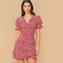 Puff Sleeve Ditsy Floral Belted Wrap Dress