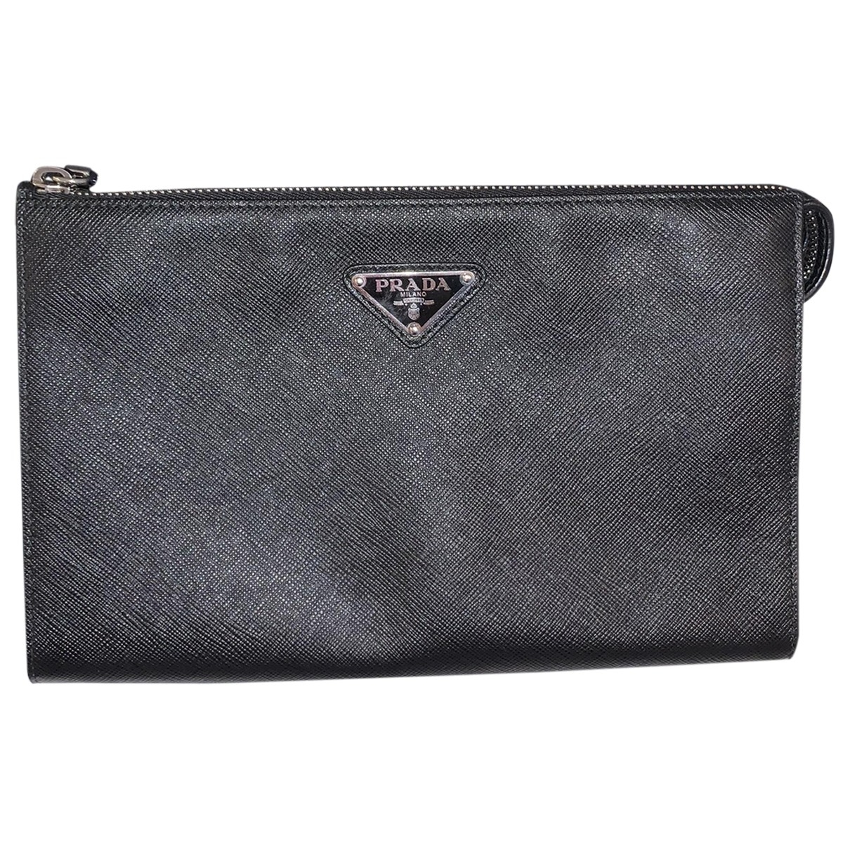 Prada \N Black Leather Small bag, wallet & cases for Men \N