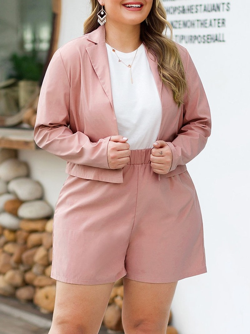 Ericdress Plus Size Shorts Plain Fashion Wrapped Notched Lapel Two Piece Sets