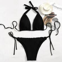 Bikini Badeanzug mit Neckholder und seitlichem Band