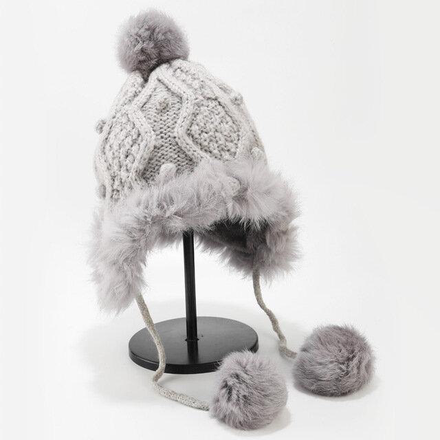 Pom Pom Decor Cuffed Knit Beanie Warm Earmuffs Hat Wool Cute Hair Ball Outdoor Warm
