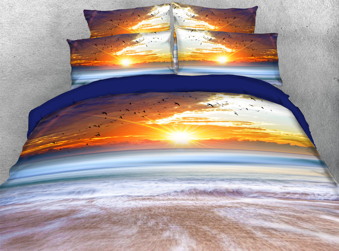 3D Sunset and Beach 4-piece No-fading Soft Bedding Sets Durable Reactive Printing Zipper Duvet Cover with Ties