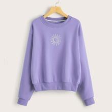 Sweatshirt mit sehr tief angesetzter Schulterpartie und Sonne Muster