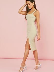 Thick Strap Split Thigh Solid Dress
