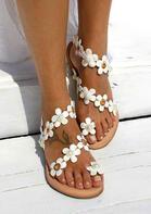 Summer Daisy Pearls Slip On Flat Sandals - White