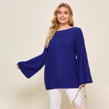 Plus Boat Neck Bell Sleeve Cable Knit Sweater