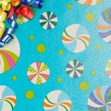 Candies On Turquoise Gift Wrap - 30 X 15' - Gift Wrapping Paper by Paper Mart