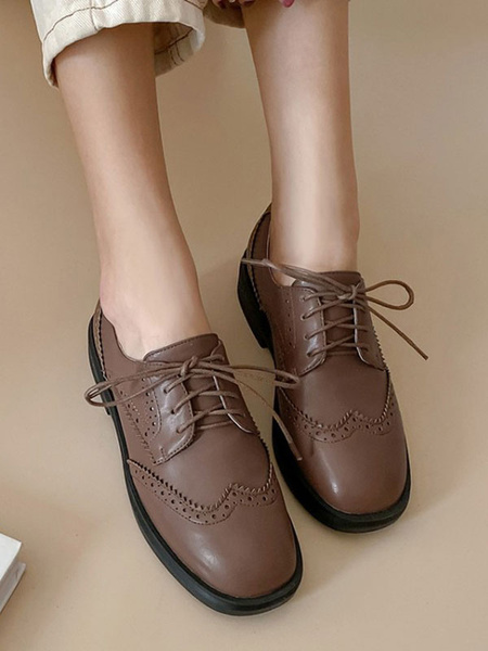 Milanoo Brown Oxfords Women Round Toe PU Leather Lace Up Casual Shoes