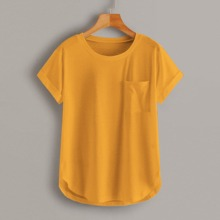 Camisetas Bolsillo Liso Mostaza Amarilla Casual