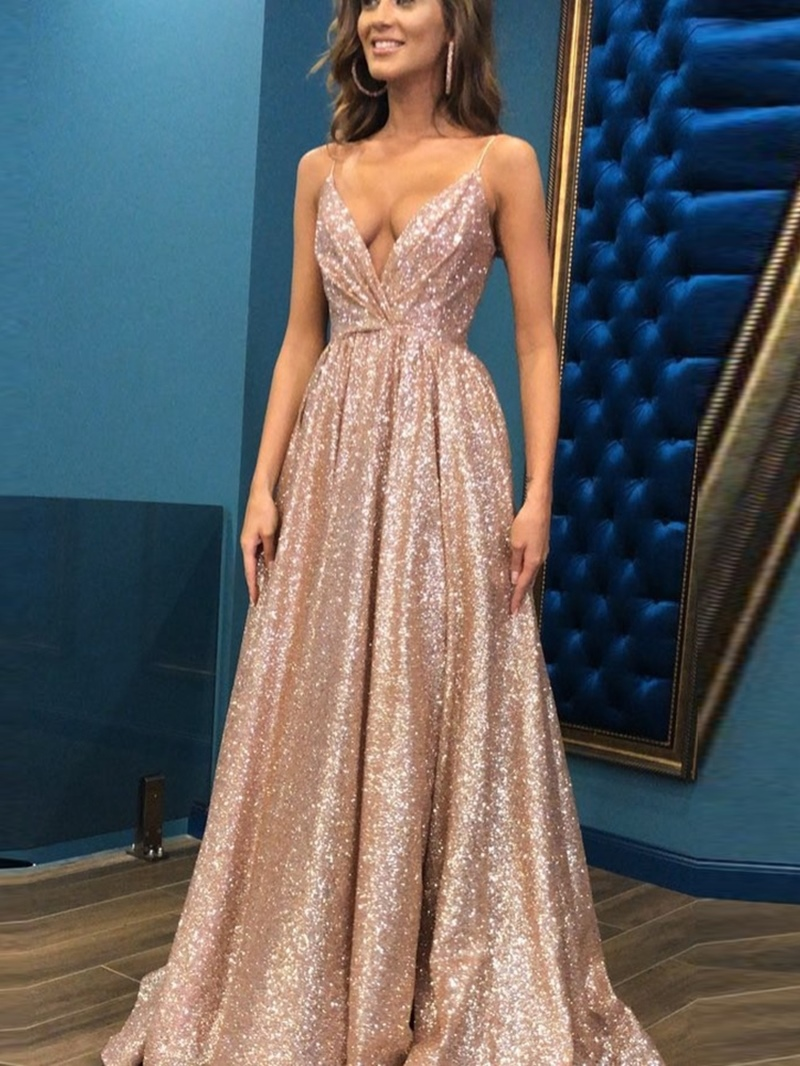 Ericdress A-Line V-Neck Sequins Prom Dress
