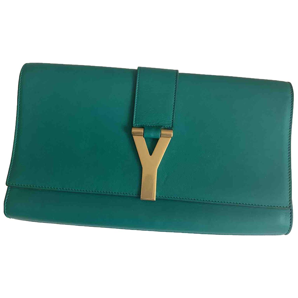 Saint Laurent Chyc Green Leather Clutch bag for Women \N