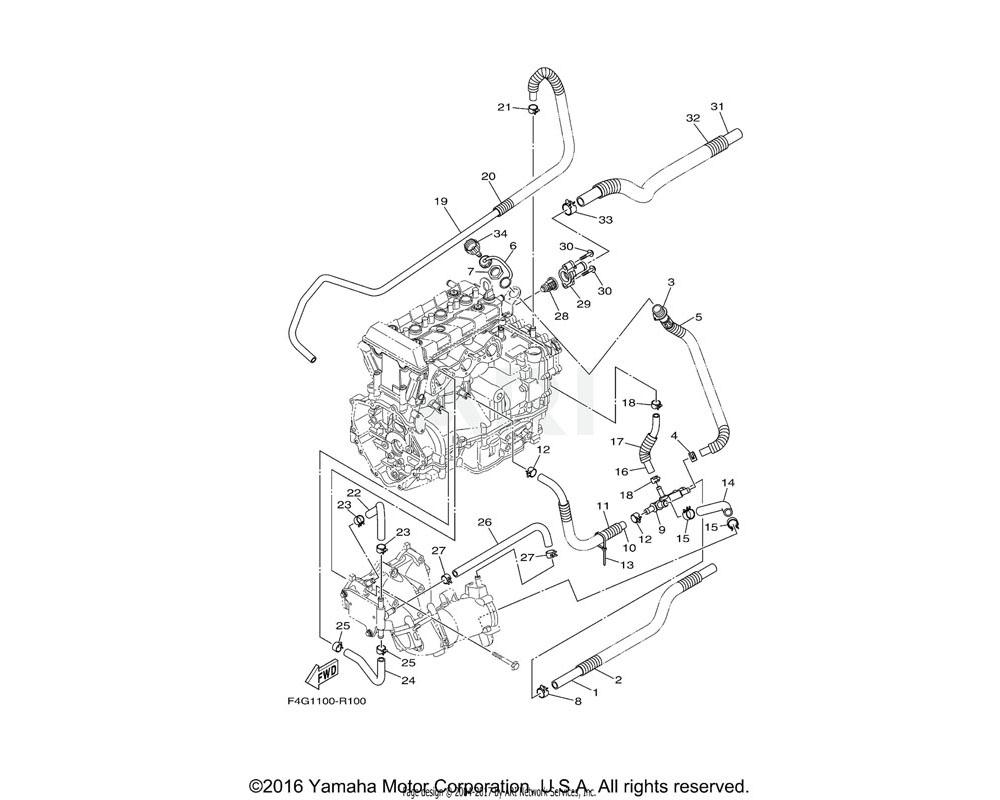 Yamaha OEM 6EY-12577-00-00 HOSE 2