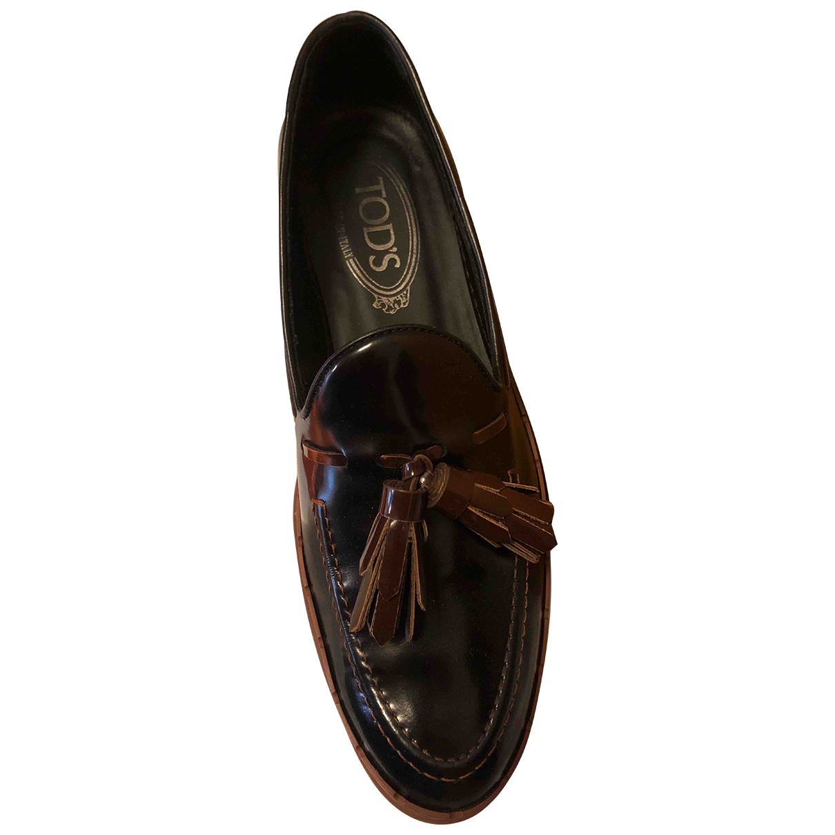 Tod's N Brown Leather Flats for Women 37.5 IT