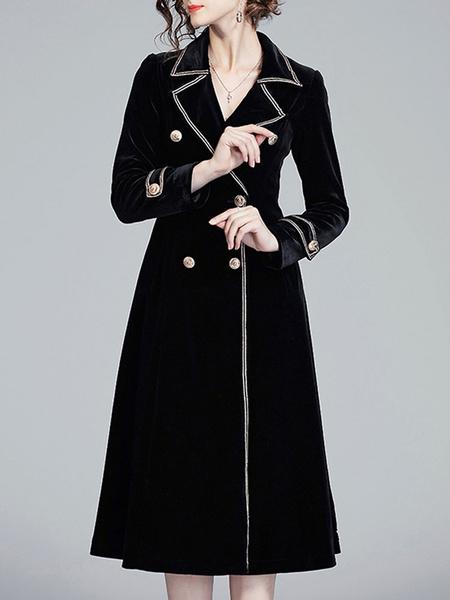 Milanoo Woman Coat Turndown Collar Buttons Casual Corduroy Black Winter Coat