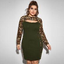 Vestido con capucha 2 en 1 panel de leopardo abierto delantero