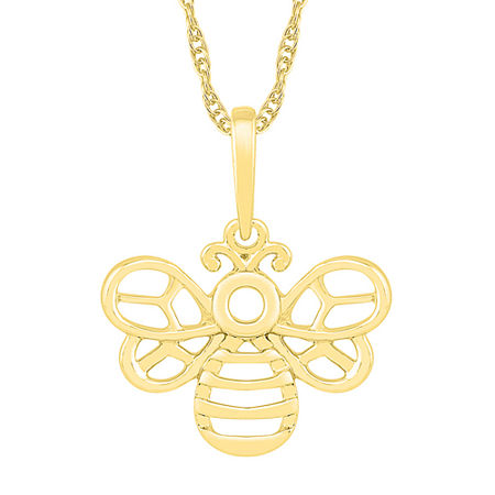 Womens 10K Gold Butterfly Pendant Necklace, One Size , No Color Family