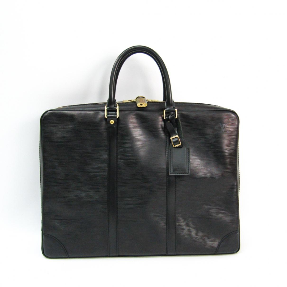 Louis Vuitton Porte Documents Voyage Black Leather handbag for Women \N