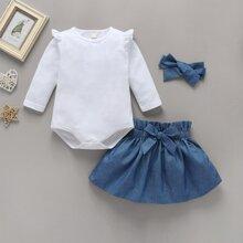 Baby Girl Frill Trim Romper & Bow Paperbag Skirt & Headband