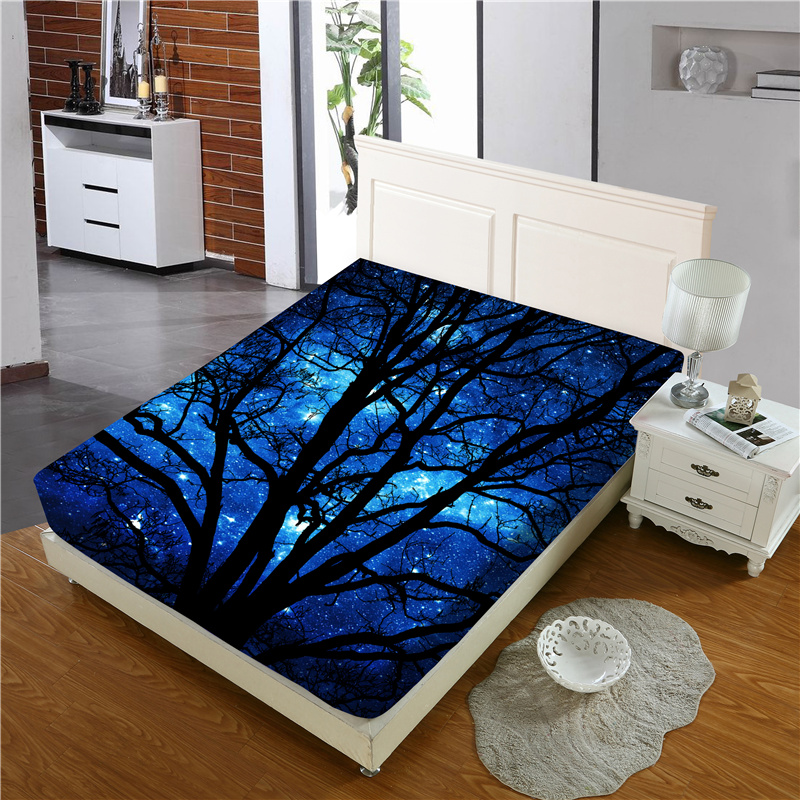 Black Branch and Dark Blue Sky Reactive Printing 1-Piece Polyester Bed Cover / Mattress Cover
