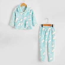 Conjunto de pijama de franela con boton delantero con estampado de dibujos animados