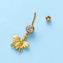 Rhinestone Animal Design Belly Bar
