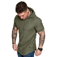 Guys Patched Curved Hem Hooded Tee