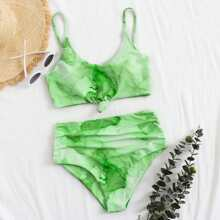 Water Color Knot Hem Ruched Bikini Swimsuit