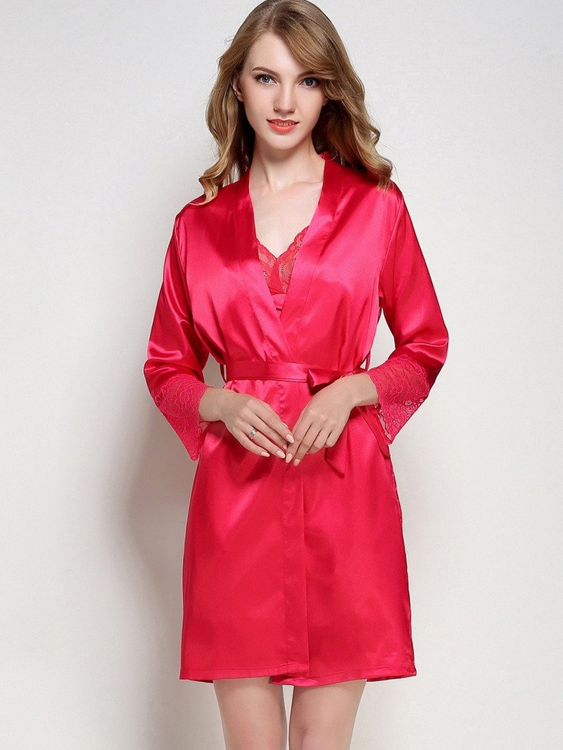 Eircdress Loose Lace-Up Mid-Length Thin Night Robe