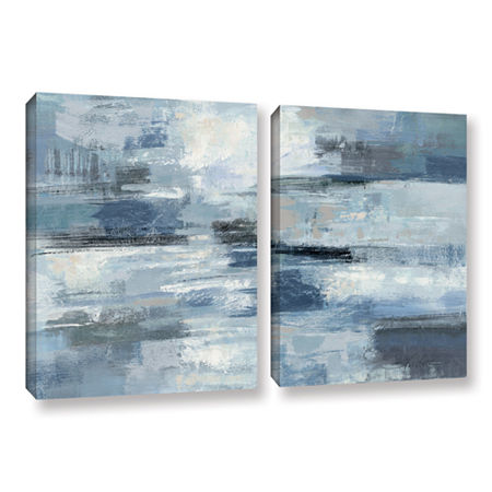 Brushstone Clear Water Indigo and Gray 2-pc. Gallery Wrapped Canvas Wall Art, One Size , Gray