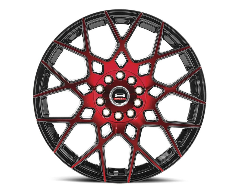 Spec-1 SP-52 Wheel Racing Series 20x8.5 5x112|5x114.3 38mm Gloss Black Milled Red Face