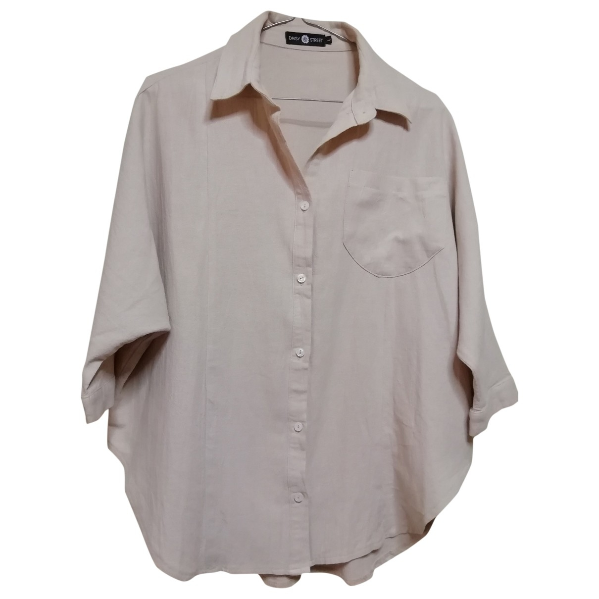 Non Signé / Unsigned Oversize Beige Cotton  top for Women L International