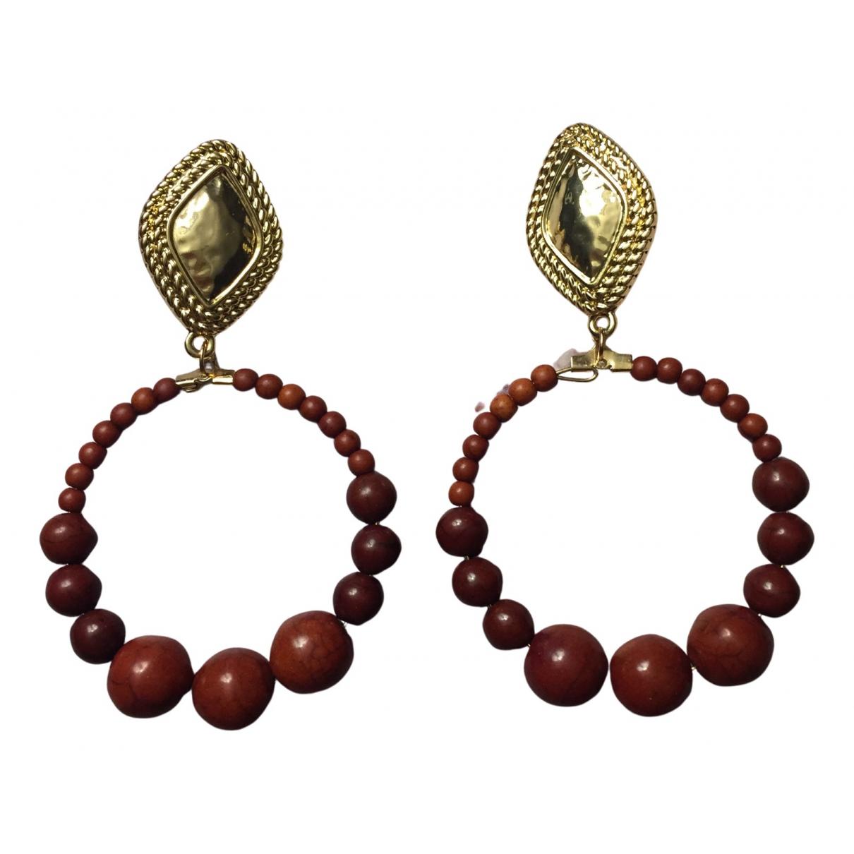 - Boucles doreilles Creoles pour femme en perles - marron