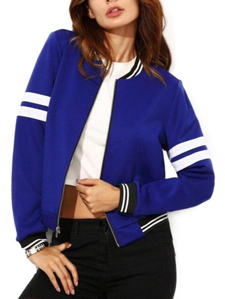 Yoins Active Zip Design Contrast Color Jacket in Blue