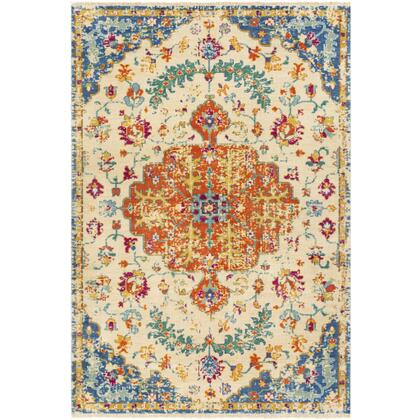 Festival FVL-1006 9' x 13' Rectangle Traditional Rug in Khaki  Dark Blue  Bright Yellow  Aqua  Bright Pink