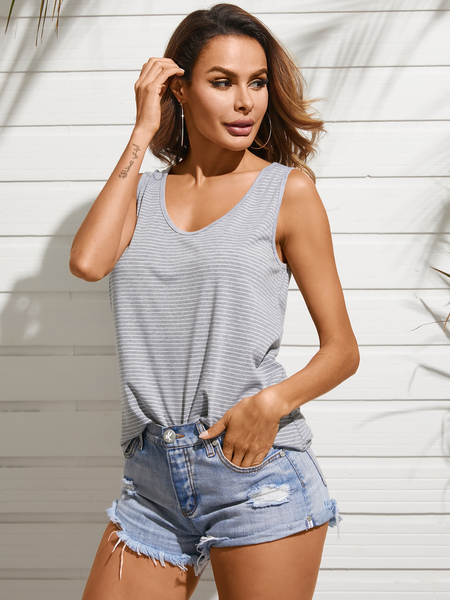 YOINS Grey Stripe Design Scoop Neck Sleeveless Tank Top
