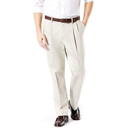 Dockers Big & Tall Classic Fit Signature Khaki Lux Cotton Stretch Pants - Pleated D3, 44 30, Beige