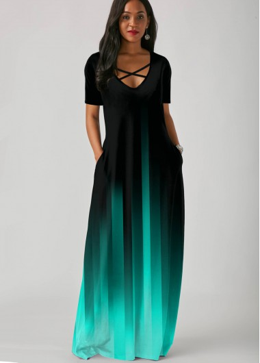 Rosewe Women Mint Green Ombre Dip Dye Tent Maxi Casual Dress With Side Pockets Short Sleeve Straight Elegant Vacation Dress - XL