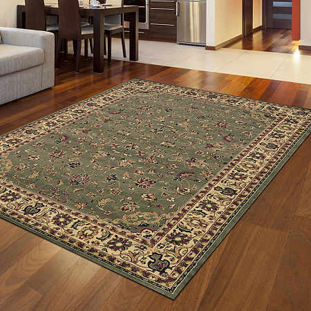 Castello Rachel Traditional Oriental Sarouk Area Rug, One Size , Green
